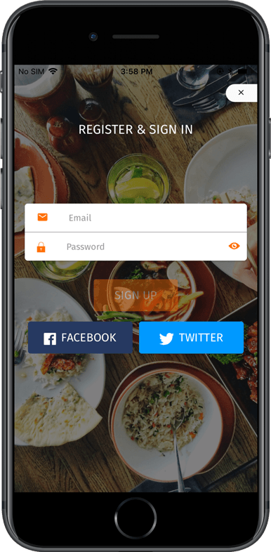 Food delivery app / Food search app starter (Ionic 3)