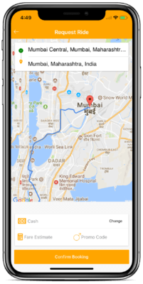 ionic taxi booking app
