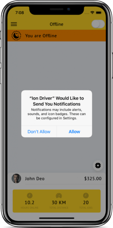 Taxi Driver app starter (Ionic 4)