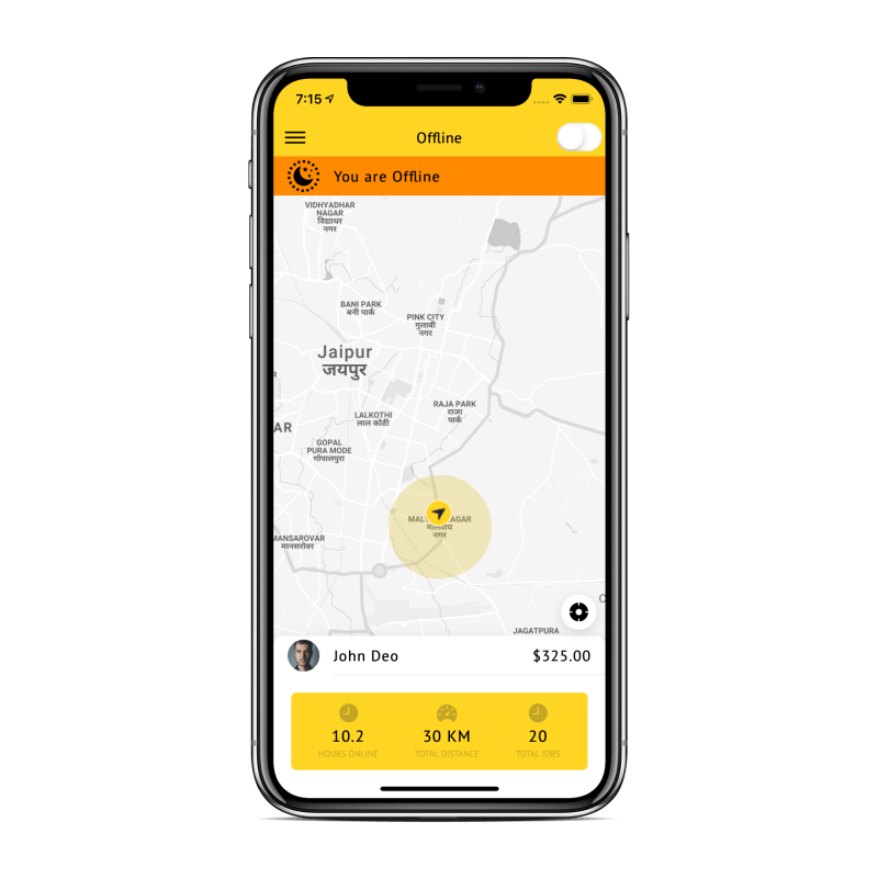 ionic 4 taxi driver app