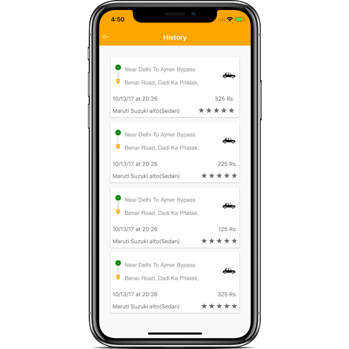 Ionic 4 user taxi booking