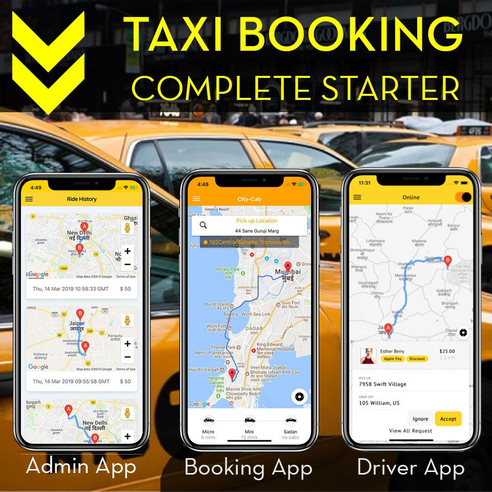 Ionic 4 Taxi Booking Complete Platform - User, Driver and