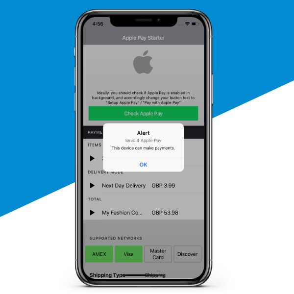 Ionic 4 Apple pay free starter