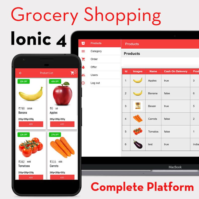 Ionic 4 grocery user and admin dashboard