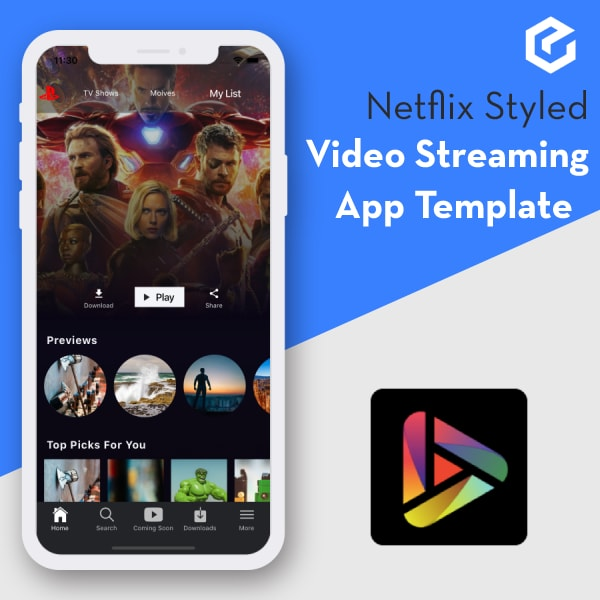 Ionic 4 Netflix style video streaming app template -TeeVee